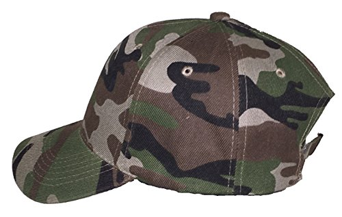 Unisex 6 Panel Plain Baseball Cap - With Velcro Closure on Back of Hat - Deep Fit - Camo (Camo Rain Boats compare prices)