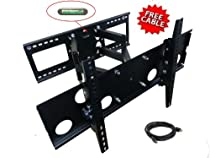 "Mount-It! Plasma LCD Flat Screen TV Articulating Full Motion Dual Arm Wall Mount Bracket For 32-65"" Displays Up To 165LBS Black With 6FT HDMI Cable-Up To 24"" Studs"