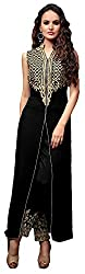 Rajnandini Women's Georgette Salwar Suit Dress Material(Black_Large)