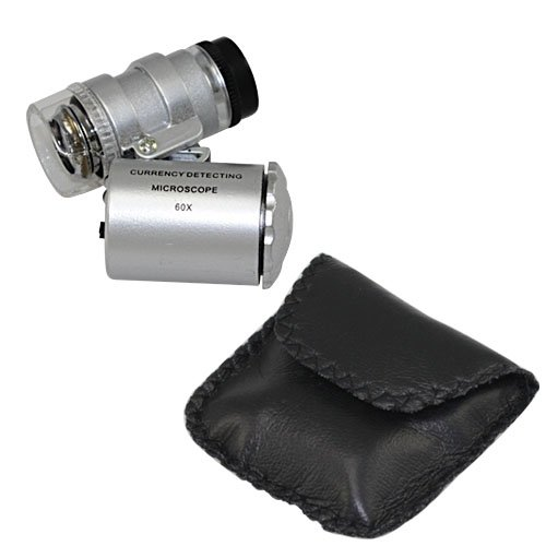 Dreamus® Silver Mini 60X Pocket Jewelry Loupe Led Uv Lighted Magnifier Microscope