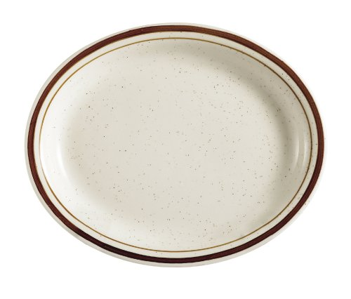 CAC China AZ-13 Arizona  Brown Rim Brown Speckled American White Stoneware Oval Platter, Box of 12