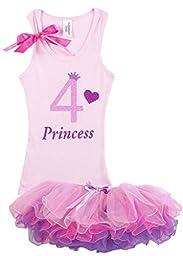 Bubblegum Divas Little Girls\' 4th Birthday Princess Crown Heart Pink Tutu Shirt Outfit