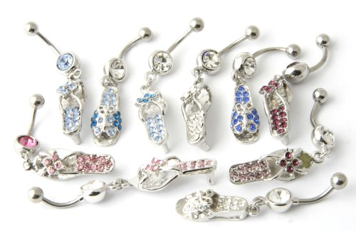 10 Piece Shoes, High Heels, Flip Flops Set Belly Ring Collection