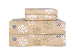Pointehaven Heavy Weight Printed Flannel Sheet Set, King, Snow Flakes Oatmeal