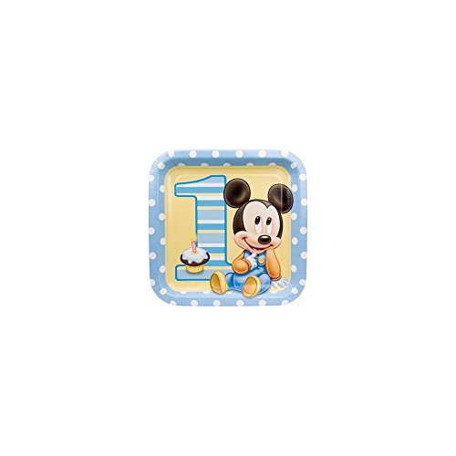 Mickey Mouse 1st Birthday Large Paper Plates (8ct)
