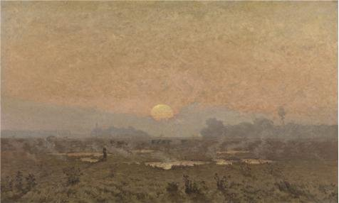 The Perfect Effect Canvas Of Oil Painting 'Sunrise In The Kempen By Alphonse Asselbergs' ,size: 18x30 Inch / 46x76 Cm ,this Imitations Art DecorativePrints On Canvas Is Fit For Powder Room Decoration And Home Gallery Art And Gifts