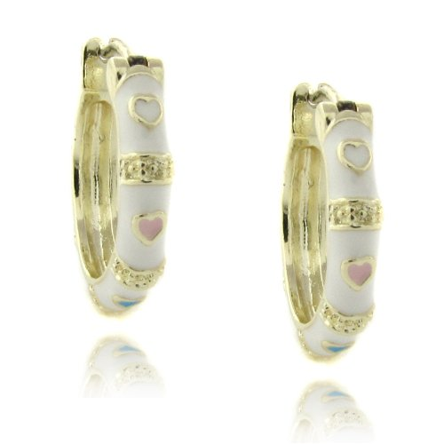 Lily Nily 18k Gold Overlay Enamel Heart Design Children's Hoop Earrings