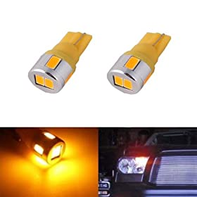 JDM ASTAR Extremely Bright 5730 SMD 194 168 2825 W5W T10 LED Bulbs,Amber Yellow(Brightest T10 Bulb in the market)