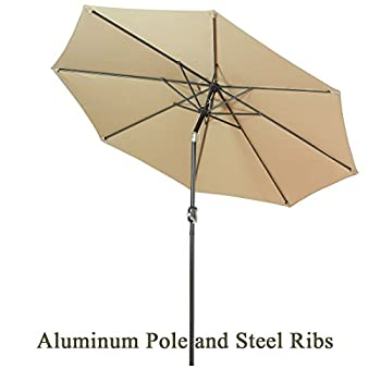 FARLAN Patio Umbrella 9 Ft Outdoor Table Aluminum offset market umbrellas with Push Button Tilt and Crank (9 Ft, Beige)