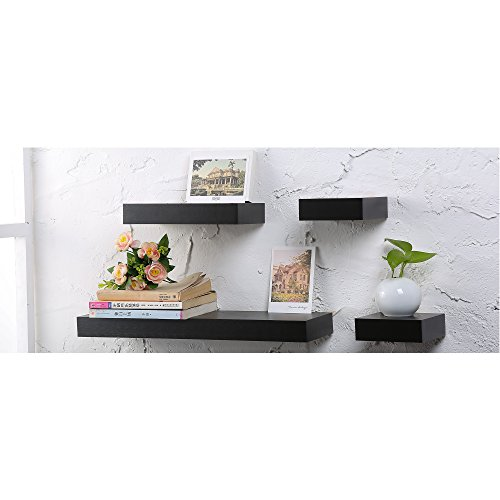 O&K Furniture 4-Piece Black Walnut Multilength Floating Ledge Shelves