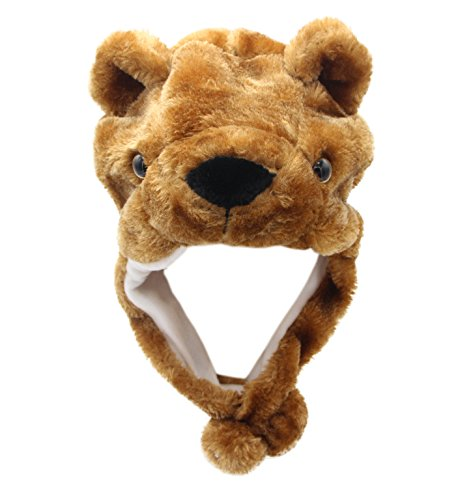 [COOLYES Kids & Adults Soft Plush Animal Hat Ear Flap Winter Beanie (Brown Bear)] (Cow Head Hat Adult)