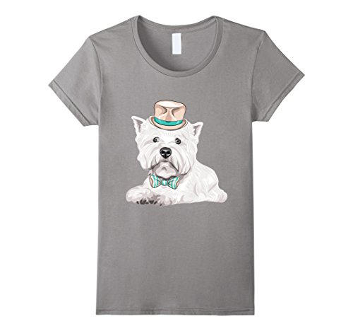 Women's Westie Terrier Dog T Shirt Large Slate