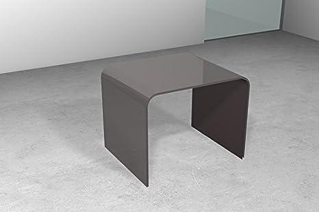 Tavolino portaoggetti in vetro. Tavolino da divano Ponte Cm 48 x 44 x h.41 Sp.10 mm. Finitura: Marrone, Art.T12E/06