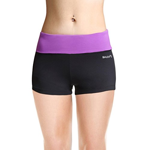 buy Baleaf Women's Workout Yoga Running Boy Cut Foldover Shorts Inner Pocket Dewberry Size L for sale
