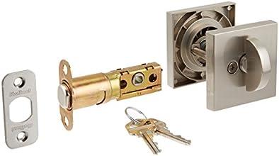 Kwikset 158 Square Single Cylinder Deadbolt featuring SmartKey® in Satin Nickel