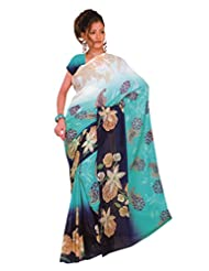 1st Home Blue Color Georgette Printed Saree