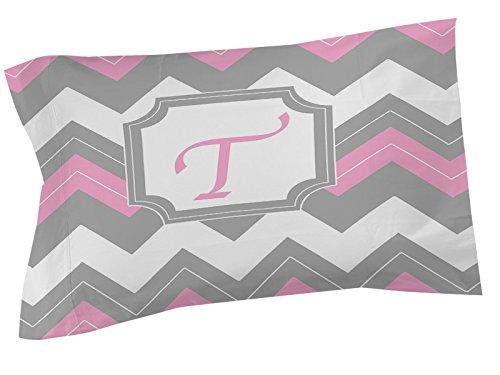 Thumbprintz Pillow Sham, Standard, Monogrammed Letter T, Pink Chevron front-470775
