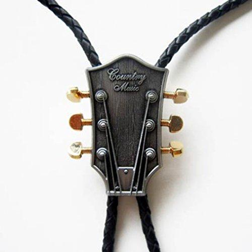 Bolo-Tie-Gitarrenkopf-24-ct-Gold-Knpfe-Bolotie-Western-Krawatte