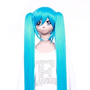 GooAction Long blue straight wig of VOCALOID Hatsune Miku cosplay lace wig