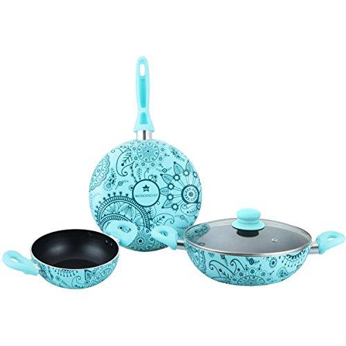 Wonderchef Oscar Blu Bello Aluminium Cookware Set, 4-Pieces, Blue