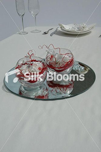 Chic Table Twin Fishbowl Arrangement Rouge &cristal Roses Blanc