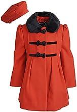 Rothschild Little Girls Wool Look A-line Winter Dress Coat with Faux Fur Collar