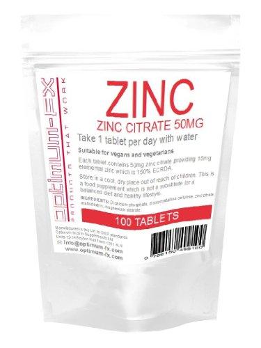 Optimum-FX Zink, Zink Zitrat 50mg Versorgt Sie mit 15mg elementarem Zink, 100 Tabletten, 12 KOSTENLOSE PRÄMIEN!