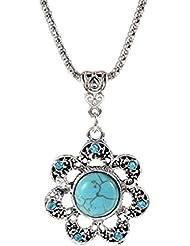 Glitz Trendy Collection Turquoise Gem Flower Alloy Pendant Necklace For Women