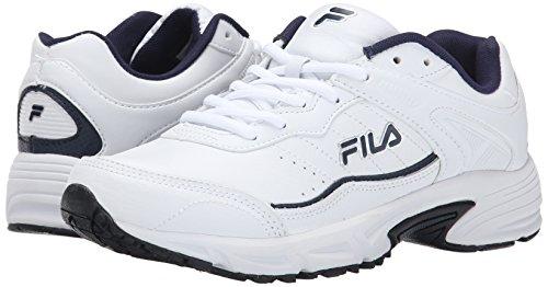 Fila Men's Memory Sportland Running Shoe, White/Fila Navy/Metallic Silver, 10.5 M US