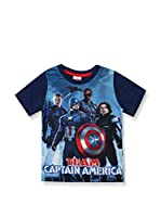 ZZ-Marvel Camiseta Manga Corta Team Ca (Azul Marino)