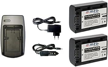 2x Batteries + Chargeur pour Sony NP-FV50 - Voir liste de compatibilité