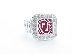 Oklahoma Sooners OU Clear Crystal Red Zebra Fashion Stretch Ring by Sports Accessory Store