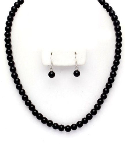 Never Go Out of Style - 8mm Black Pearl Earrings & Necklace Set