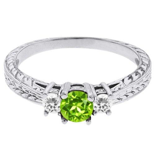 0.56 Ct Round Green Peridot White Sapphire 18K White Gold 3-Stone Ring