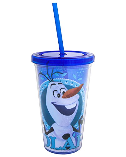 Silver Buffalo DP38087 Disney Olaf with Name BPA-Free Plastic Cold Cup with Lid and Straw, 16 oz., Blue - 1
