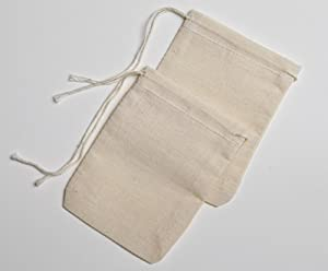 Cotton Muslin Bags 3x4 Inch Drawstring 100 Count Pack