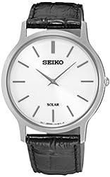 Amazon.com: Seiko Classic White Dial Black Leather Mens Watch SUR019P2