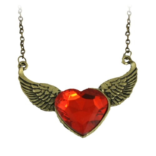 Rosallini Red Plastic Crystal Heart Decor Flying Wing Shaped Pendant Necklace