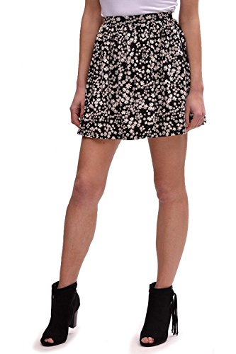 ONLY GONNA CORTA A FIORI LIVE LOVE LIGHT SKATE SKIRT BLACK DAISY-L