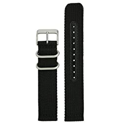 Nylon Watch Band Military Sport Strap Black Stainless Heavy Buckle 22 millimeter
