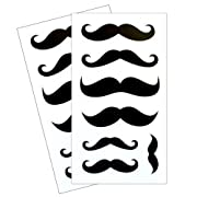 Dishwasher Safe Mustache Stickers - 2 Sheets