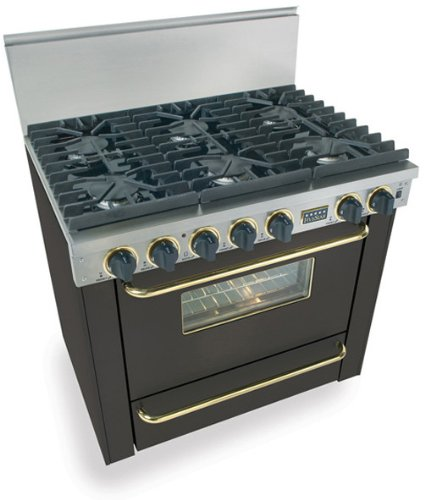 """36"""" Pro-Style Lp Gas Range With 6 Sealed Ultra High-Low Burners 3.69 Cu. Ft. Manual Clean Oven And Broiler Oven Black With Brass"""