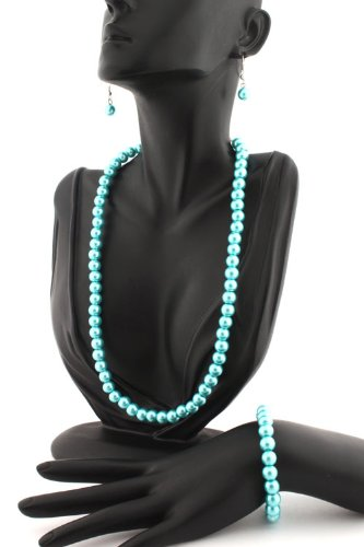 Ladies Metallic Light Blue Pearl Style Matching Adjustable Necklace, Stretch Bracelet, & Drop Earrings Jewelry Set