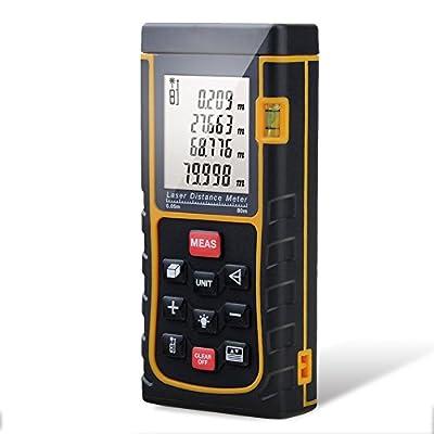 Distance Laser Measurer, CiBest 262ft /80m Portable Laser Distance Meter Rangefinder Finder Handheld Measure Instrument with Min/in/ft , Tape Measure 0.05 to 80m (0.16 to 262ft)(80 M)