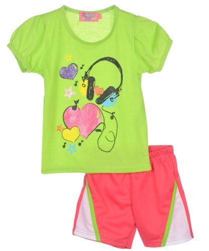 "Coney Island Little Girls' Toddler ""Headphones & Hearts"" 2-Piece Outfit - Lime, 4T"
