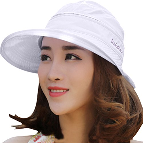 Wide Large Brim Sun Hat Summer UV Protection Thin Hat 2 in 1 Beach Sun Hat (Solid Brim Sun Protection Hat compare prices)