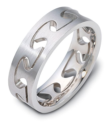 675b49c718ac5 Where to buy Mens 18K White Gold Puzzle Ring 6MM Band - Mildred A ...