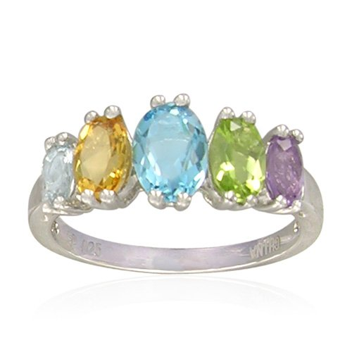 Sterling Silver Oval-Shaped Multi-Gemstone Ring, Size 7