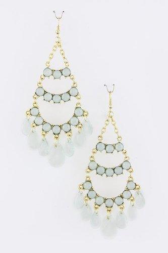 Karmas Canvas Bead Layered Dimpled Earrings (Aqua) front-1060979
