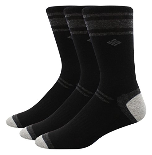 Columbia Men's Crew Socks - Polyester/Cotton Black Size 6-12, 3 Pairs